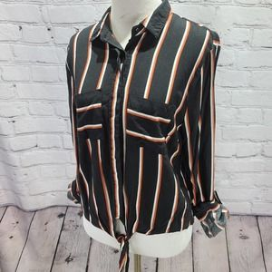 charlotte russe black long sleeve button down